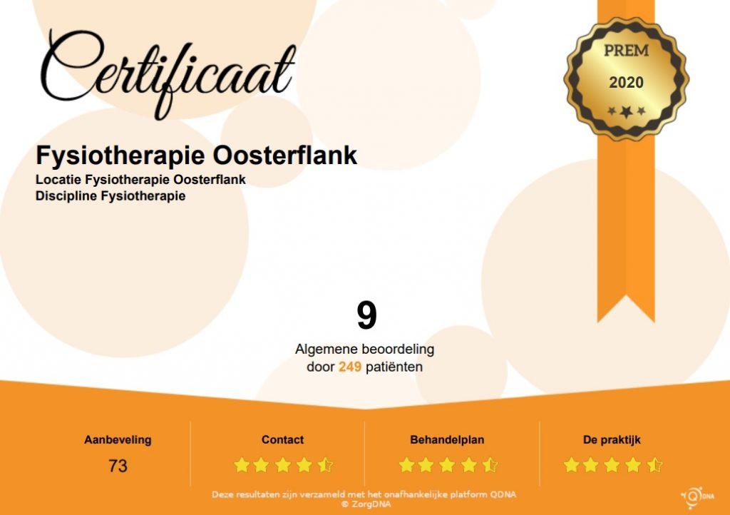 Certificaat 2020 Fysio Therapie Oosterflank